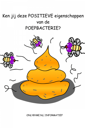 De poepbacterie heeft veel goede eigenschappen. Niet alle E.coli's zijn schadelijk, sterker nog, dat is slechts een minderheid. Informatieve blog.Afbeelding toont een getekende hoop poep met insecten.#poep #faces #ecoli #informatief #ontlasting #diarree